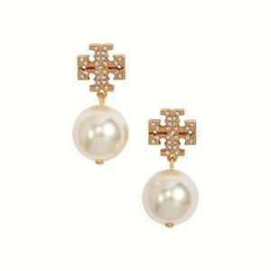 ❤Tory Burch Crystal Pearl Logo Drop Earrings Gold